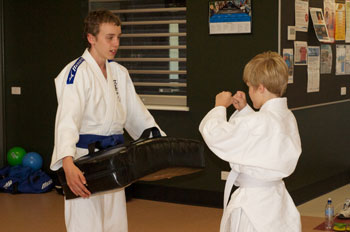 Kids Shotoks Karate Kicking Practice